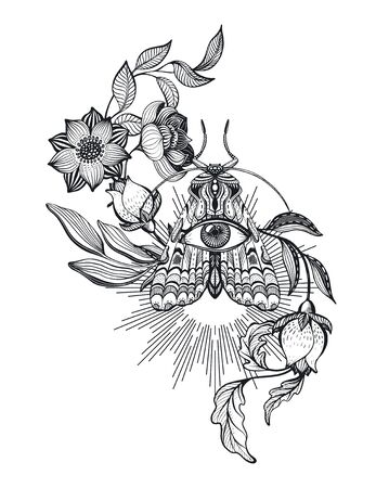 Vector illustration of black and white moth, flowers, branches, isolated on white background Vectores