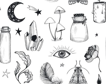 Vector seamless pattern with hand drawn mystical magic boho elements on white.