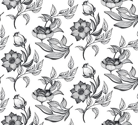 Vector floral seamless pattern. Romantic elegant endless background with hand drawn doodle flowers.