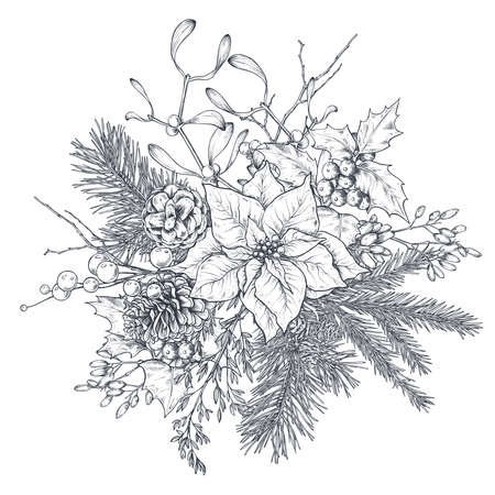 Vector Christmas floral arrangement for greeting card or invitation with hand drawn winter plants, pine cones, flower.