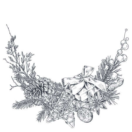 Vector Christmas floral arrangement for greeting card or invitation with hand drawn winter plants, pine cones, gift box.