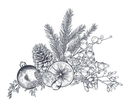 Vector Christmas floral arrangement for greeting card or invitation with hand drawn winter plants, pine cones, ball, orange