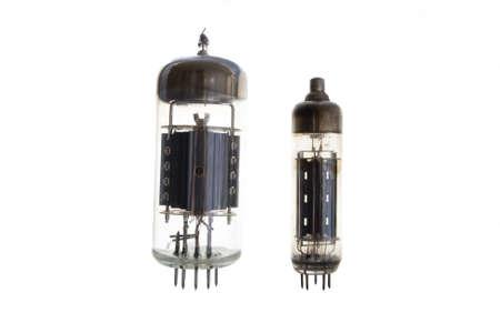 Electronic vacuum tube on a white background photo