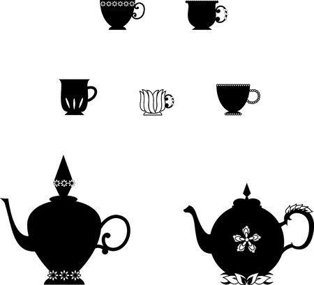 boiling water: Vector illustration of teapots and cups