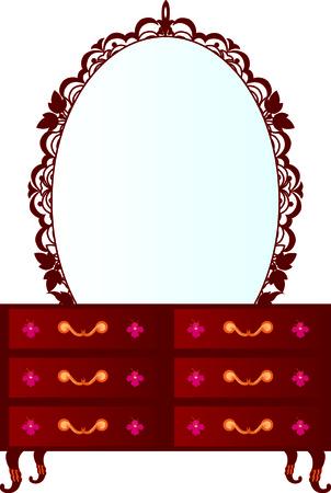 lak�hely: Vector illustration of chest of drawers Illusztráció