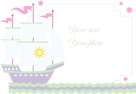 대양의: Vector illustration of sailboat with place for your photo or text
