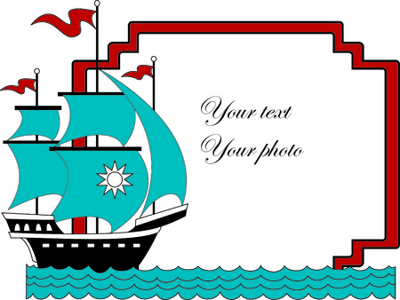 oceanic: Vector illustration of sailboat with place  for your photo or text