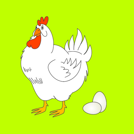 cackle: Vector illustration of chiken with eggs