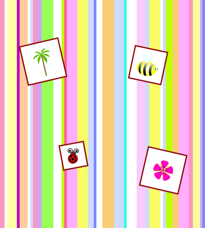 Vector illustration of summer elements  on striped background Vector