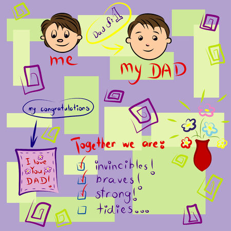 Vector greeting card on Fathers Day