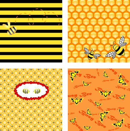 Vector honeycomb backgrounds with  bees Vector