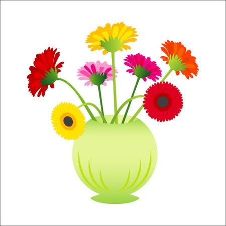 natura morta con fiori: Vettore gerber fiore in vaso