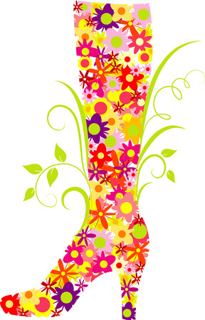 Vector flowered fashion boot Vector