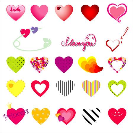 Vector hearts and symbols of love Vector