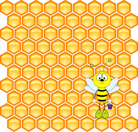 Fun honeybee on honeycell background Vector
