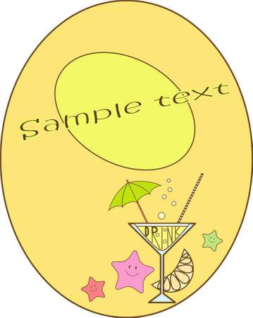 oval  alcohol: Vector summer card Illustration