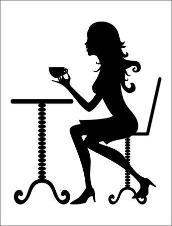 donna che beve il caff�: Donna bere caff� Vettoriali