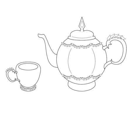 Vector illustration of teapot and cup