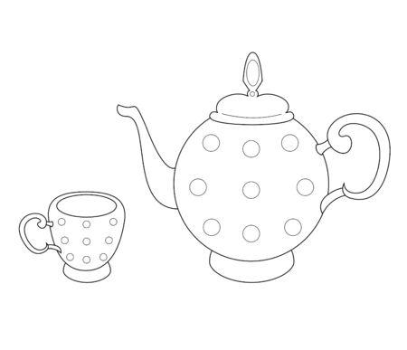 ティーポットとカップのベクトル イラスト