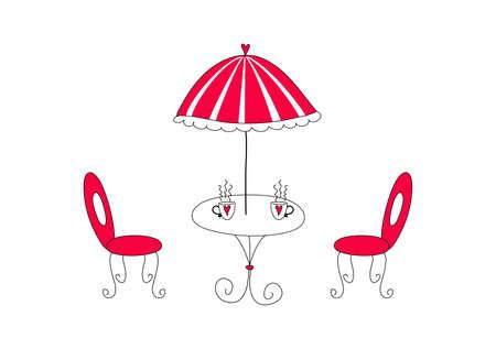 cafe table: Cafe. illustration