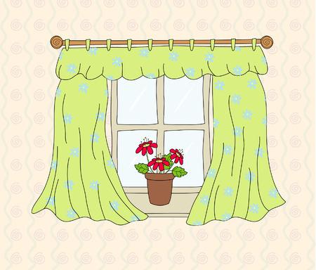 vista ventana: Ventana con cortina, ilustraci�n