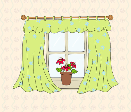 wooden window: Window with curtain, illustration Illustration