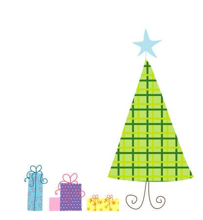 christmass: Ilustraci�n del �rbol de Christmass y regalos