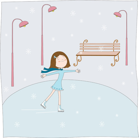 The girl skates. illustration Stock Vector - 5923776