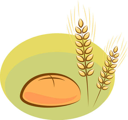browned:  illustration of bread and wheat Illustration