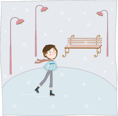 The boy skates.illustration Stock Vector - 5923772