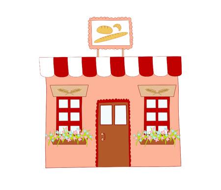 store window: illustratie van bakkerij