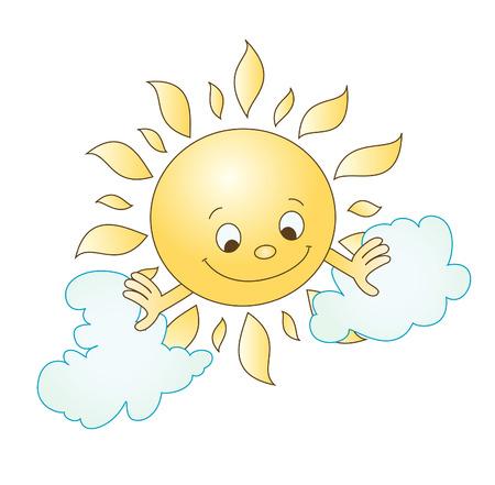 soleil souriant: illustration du soleil et de nuages  Illustration