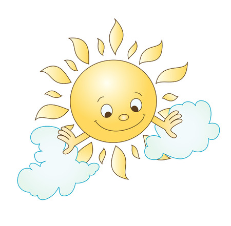 fun in the sun: illustration of sun and clouds