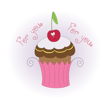 cupcake illustration: Muffin with cherry