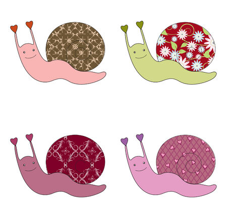 four objects: Four cute snails Illustration