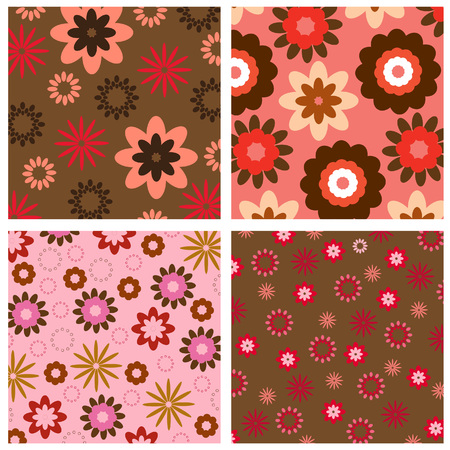 brown: Four floral background pattern
