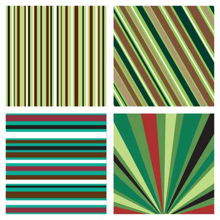 4 つの縞模様の背景パターン  イラスト・ベクター素材