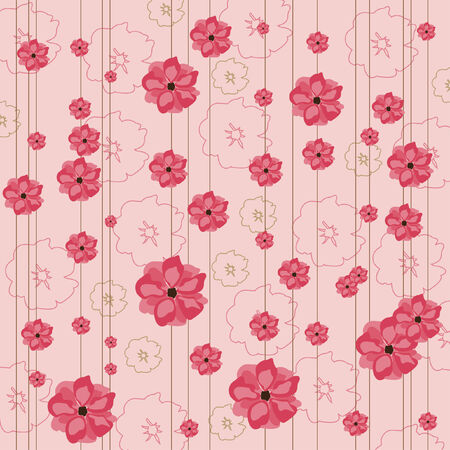 postcard background: Floral pink background