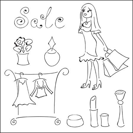 Shoping elements.  illustration