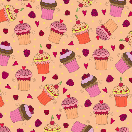 rasberry: Seamless wallpaper pattern with muffins Illustration