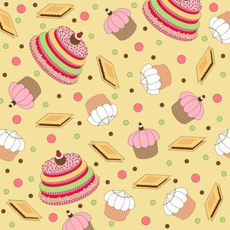 cupcake illustration: Seamless wallpaper pattern