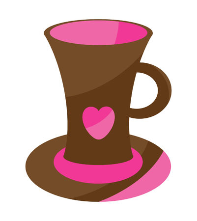 cute cup with heart Vector