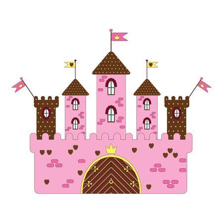 pink roof:  castle Illustration