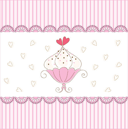 best wishes:  illustration of card with muffin Illustration