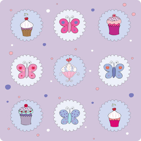 best wishes: illustration of card with muffins and butterflies
