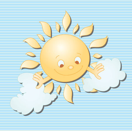 illustration of sun and clouds Vector