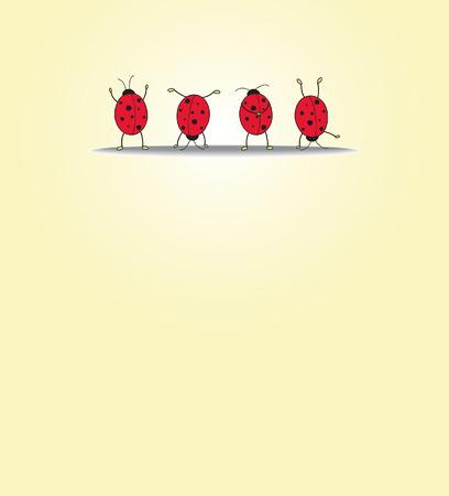 Carte avec quatre ladybugs  Banque d'images - 7257964