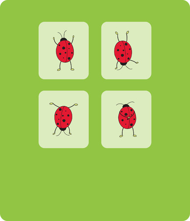card with four ladybugs Stock Vector - 7257938