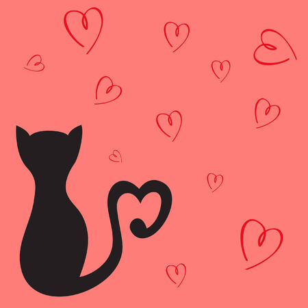 card with hearts and cat Vector