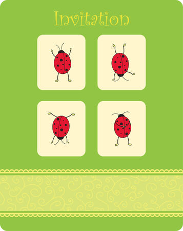 card with four ladybugs Vector